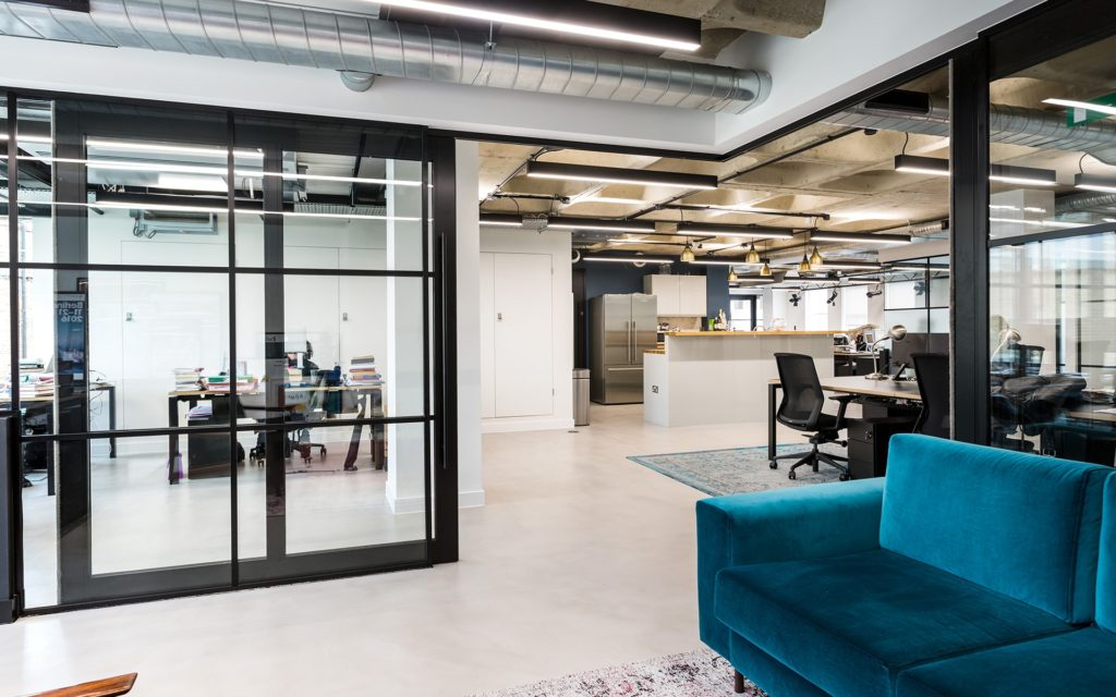 Sliding doors | Crittall Effect | Crittall glazing | Industrial look | Open plan office | Agile working
